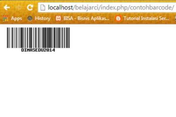 Hasil barcode generator menggunakan CI